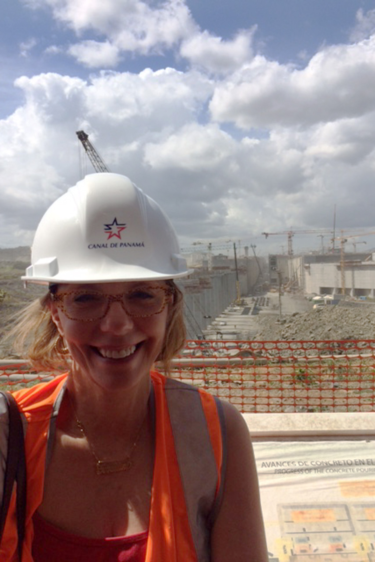 Geraldine Knatz at big locks construction site Panama