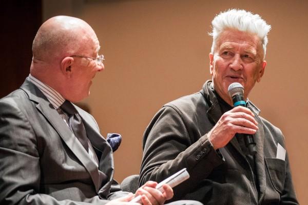Candace Reckinger, left, and David Lynch converse. (Photo/David Johnston)