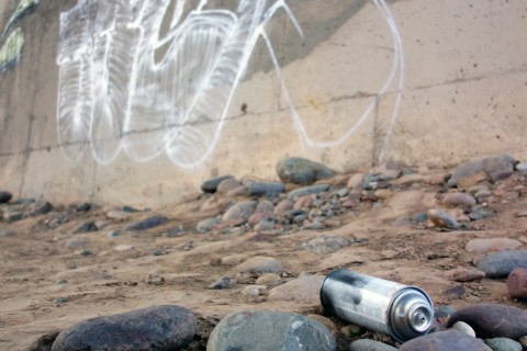Spray-painting tags on public property