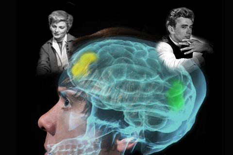 The rebel, embodied by James Dean, and a 1950s TV mom portrayed by Barbara Billingsley. (Photo illustration/USC News)