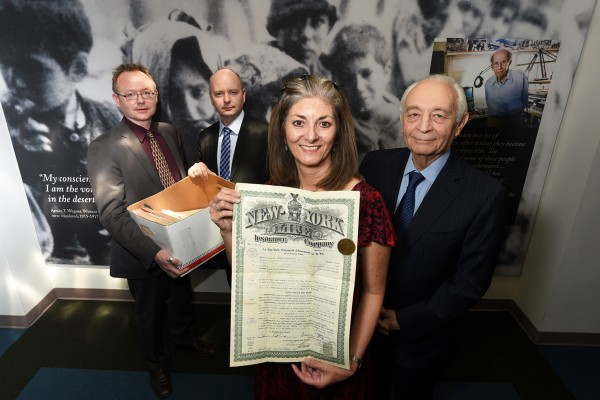 Wolf Gruner, Stephen Smith, Evan Backer, Andrea Marootian and Vartkes Yeghiayan, from left, at the USC Shoah Foundation for the donation of Yeghiayan's New York Life lawsuit documents. (Photo/courtesy of AFP)