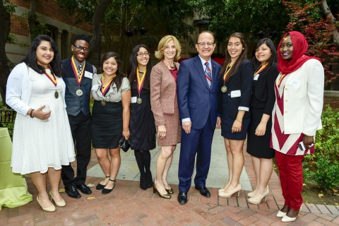 C. L. Max Nikias and Niki C. Nikias with NAI scholars