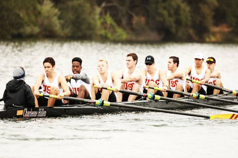 Rowing Team.jpg People: Max Miceli, Amri Rigby, Stephen Wood, Steve McAfee, Duke Dunham, Kevin Vasquez, Bernie Ortiz, David  Caption: Amri and USC crew row as hard as they can during their first 5k meter race