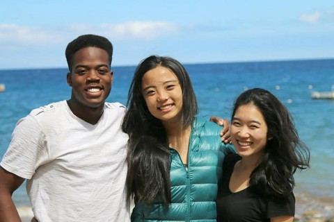 People: Amri Rigby, May Yang, Sian Ye Caption: Amri enjoys Catalina Island with his friends while on a fellowship trip