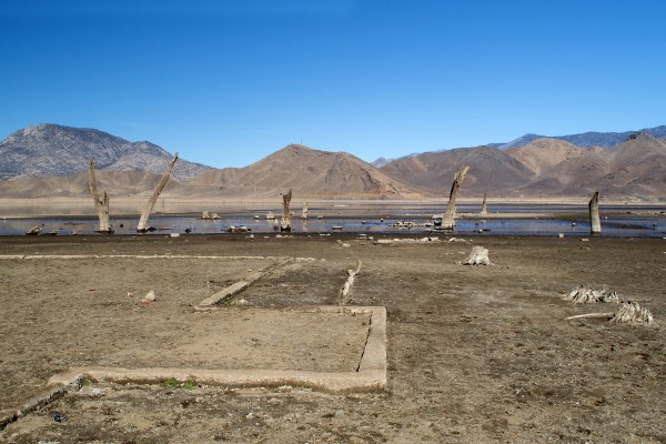 The remains of a foundation of a former home, what use to be at the bottom of  Kissack Bay at Lake Isabella and would normally be under water.  The lake is very low because of the current drought. (Photo/Don Barrett)