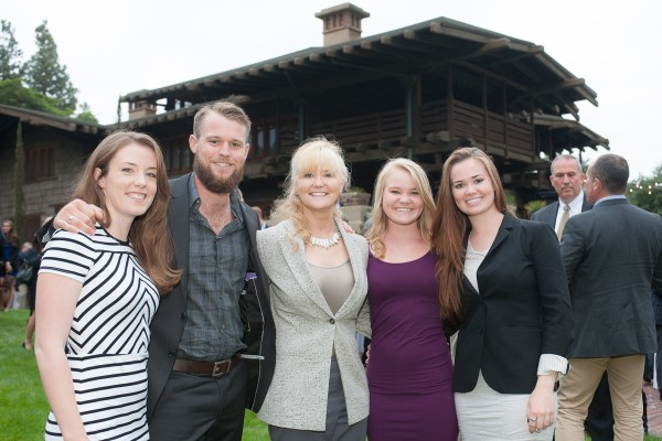 Honoree Kelly Sutherlin McLeod, third from left, stands with, from left, Katie Smith, son Cameron McLeod and daughters Claire and Kate McLeod. (Photo/April Rocha)