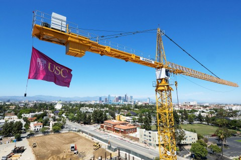 USC flag flies from crane