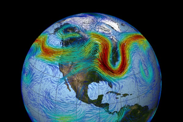 The jet stream over North America (Photo/NASA.gov)