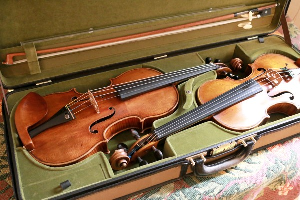 The Stradivarius is at left and the Guarneri is at right. (Photo/Daniel Anderson)