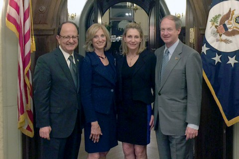President C. L. Max Nikias and Niki C. Nikias, left, visit with Ambassador John Emerson and his wife, Kimberly