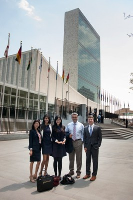Frances Teves, Tania Reza, Apple Xuefei Ji, Professor Frank Zerunyan and Christopher Robinson at the United Nations (Photo/courtesy of Frank Zerunyan)