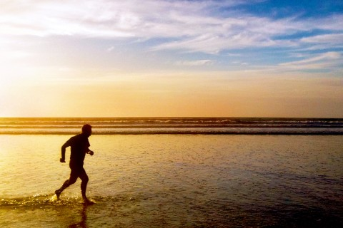 man jogging, sunset,