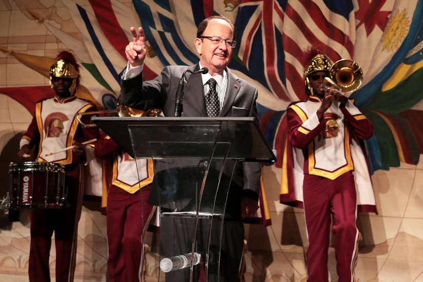 C. L. Max Nikias and the Trojan Marching Band