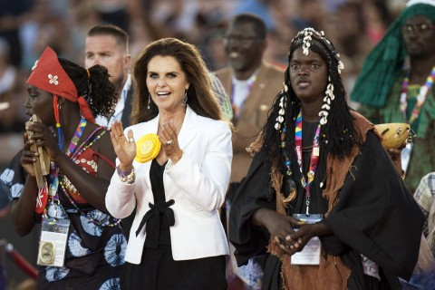 Maria Shriver at the opening ceremonies of the Special Olympics