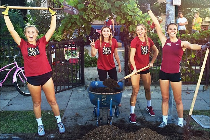 Sand volleyball team in Urban Garden