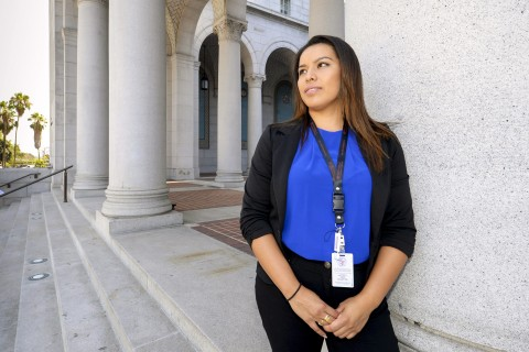 USC student Karla Martinez at city hall