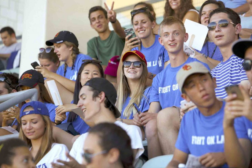 Students at Dodger Stadium