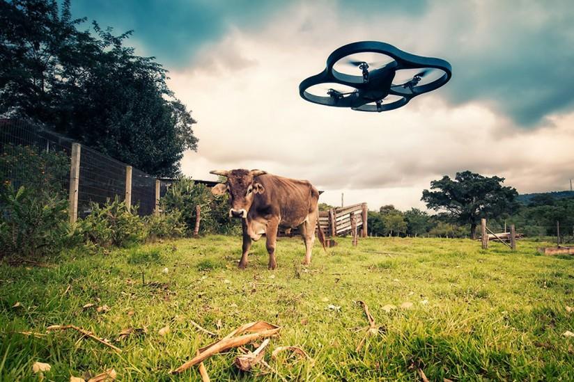 drones at a farm