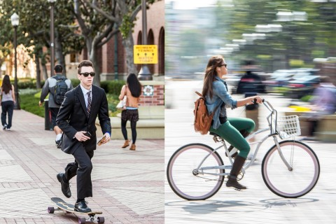Skateboarding and cycling