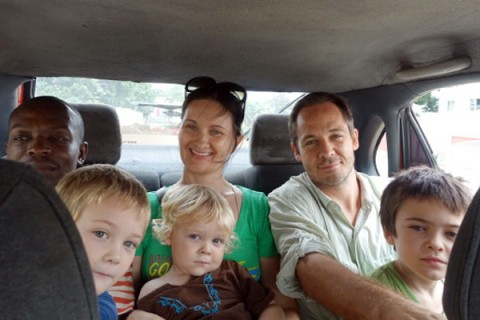 Todd Fredson, upper right, with Sarah Vap, their three sons and family friend Boli Dje Bi Tra Simon, left (Photo/courtesy of Todd Fredson)