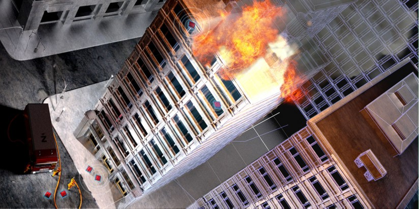 burning building illustration