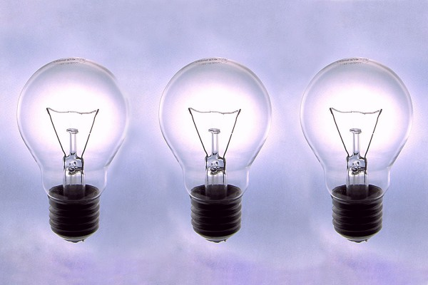 three lightbulbs
