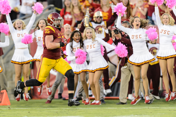 Freshman linebacker Cameron Smith returns an interception for a touchdown in USC's 42-24 win over Utah on Oct. 24.