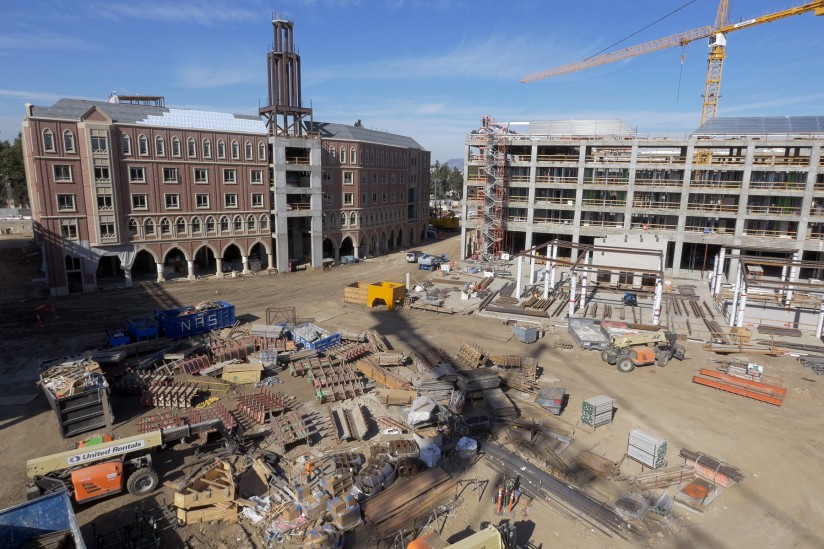 USC Village construction Dec. 13 2015