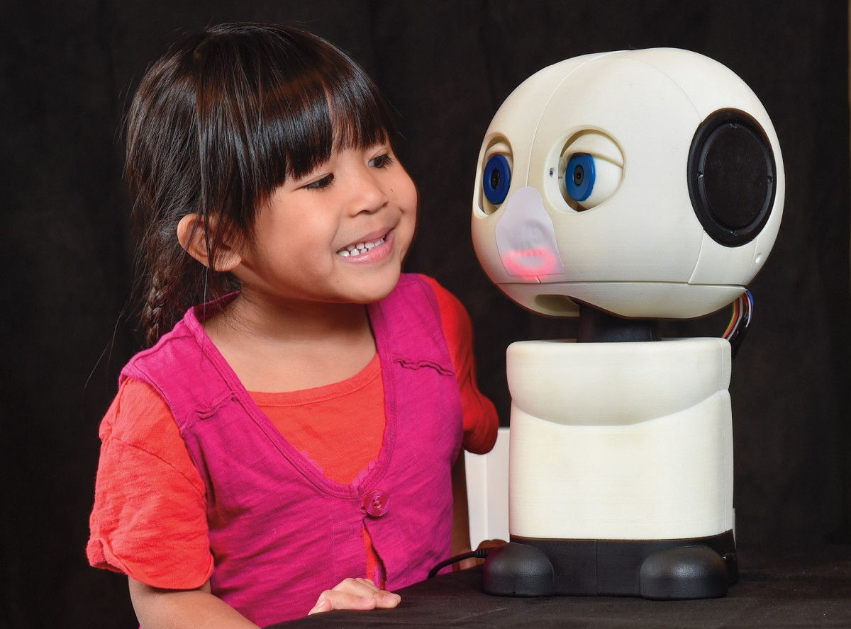 Girl and interactive robot