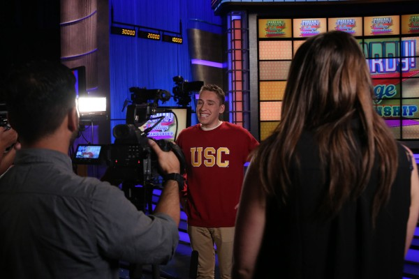 Sam Deutsch on the Jeopardy set.