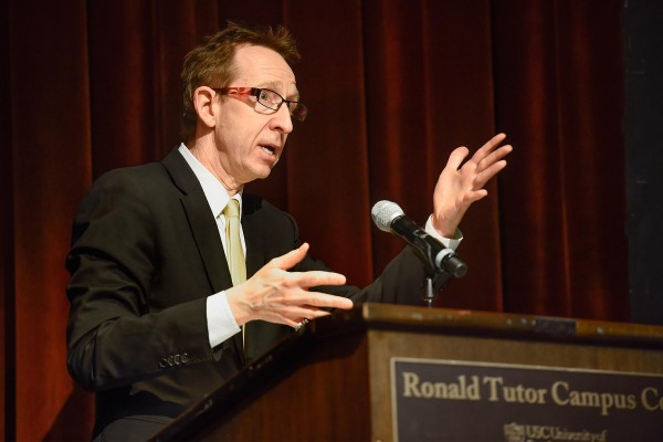 USC Provost Michael Quick delivers the keynote speech during the summit. (USC Photo/Gus Ruelas)