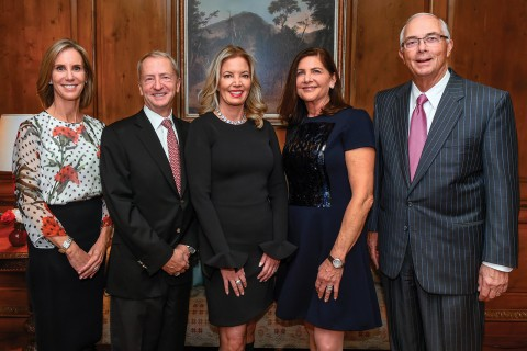 New USC Trustees (from left) Tracy Sykes, David Bohnett, Jeanie Buss, Kathy Leventhal and Kris Popovich