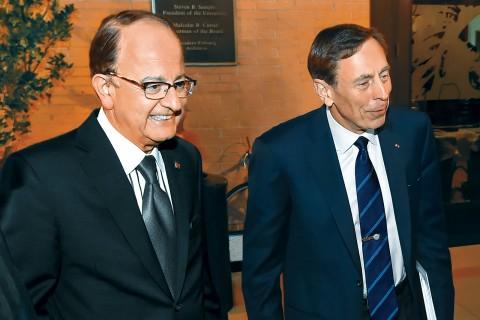 USC President C. L. Max Nikias with Gen. David Petraeus
