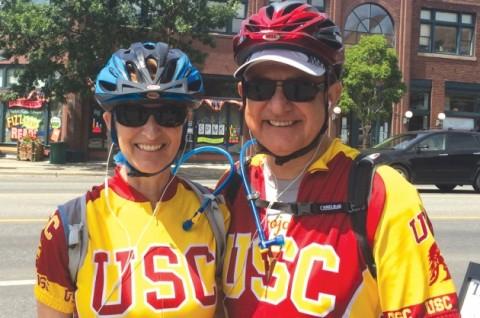 Niki Nikias and Max Nikias cycling