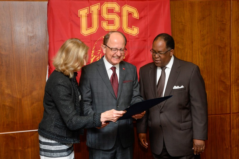 Niki C. Nikias, President C. L. Max Nikias and Mark Ridley-Thomas