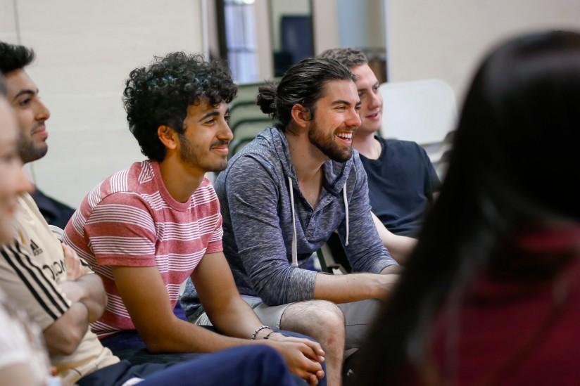 Students listen to Zach Galifianakis