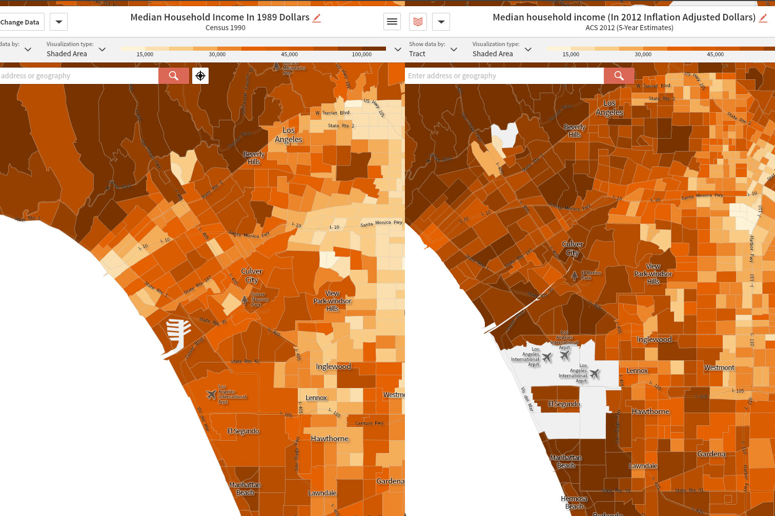 Map of Los Angeles incomes