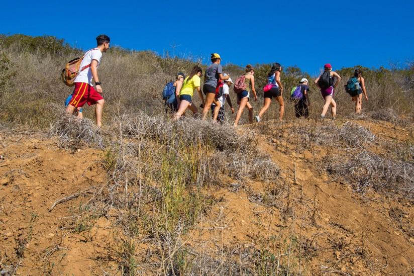 Students hike at Solstice Canyon in Malibu.