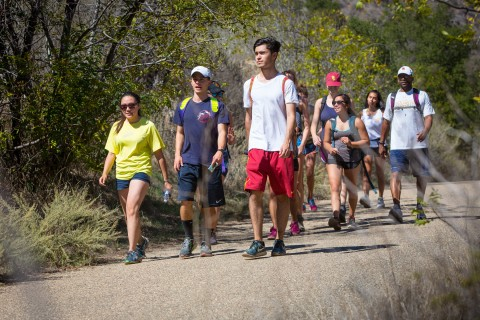 Students hike in Malibu.