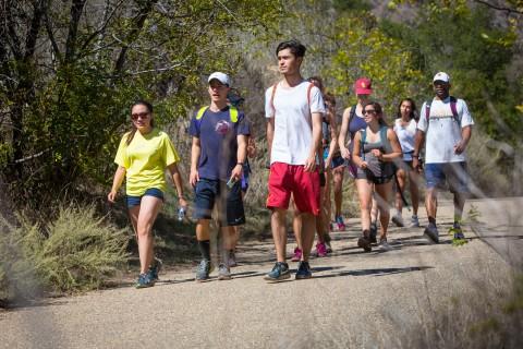 Students hike in Malibu.