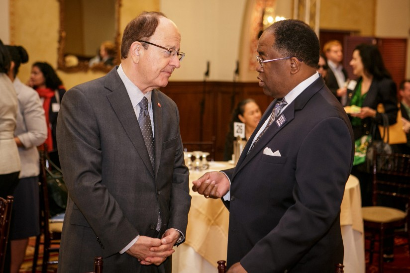 President C. L. Max Nikias with County Supervisor Mark Ridley Thomas