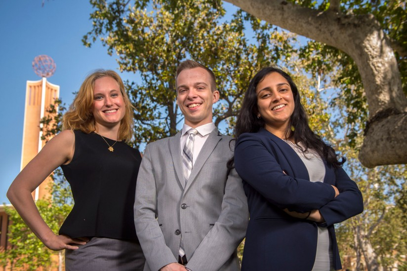 The names of USC salutatorians Adrienne Visani and Ryan Lindveit, at left, and valedictorian Sulekha Ramayya will be etched on the Wall of Scholars. (USC Photo/Gus Ruelas)