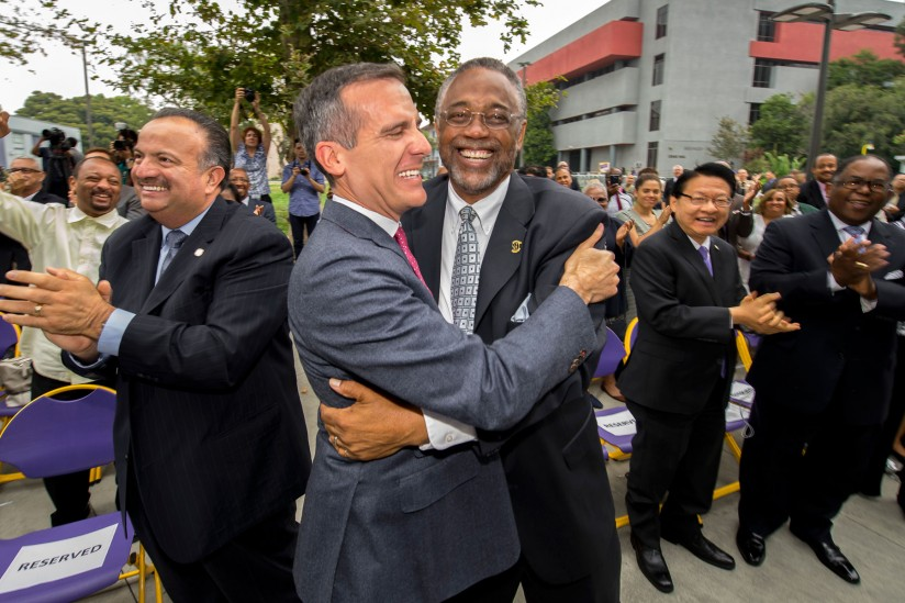 Eric Garcetti and Curren Price