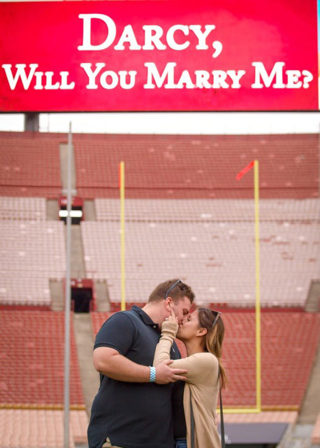 Couple's photo at L.A. Coliseum