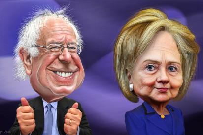 Cartoon: Bernie Sanders and Hillary Clinton
