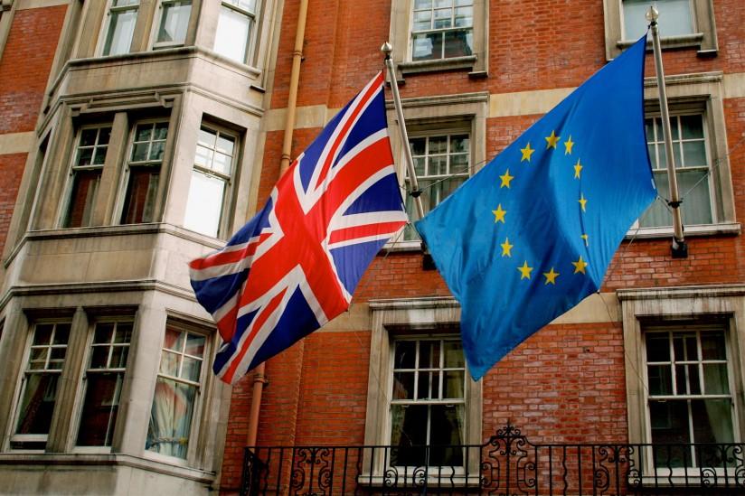U.K. and EU flags