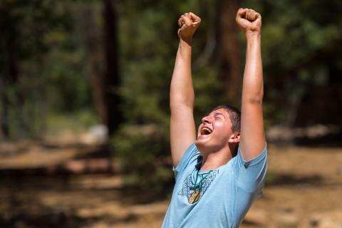 Camper celebrates