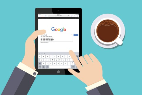Googling coffee on ipad