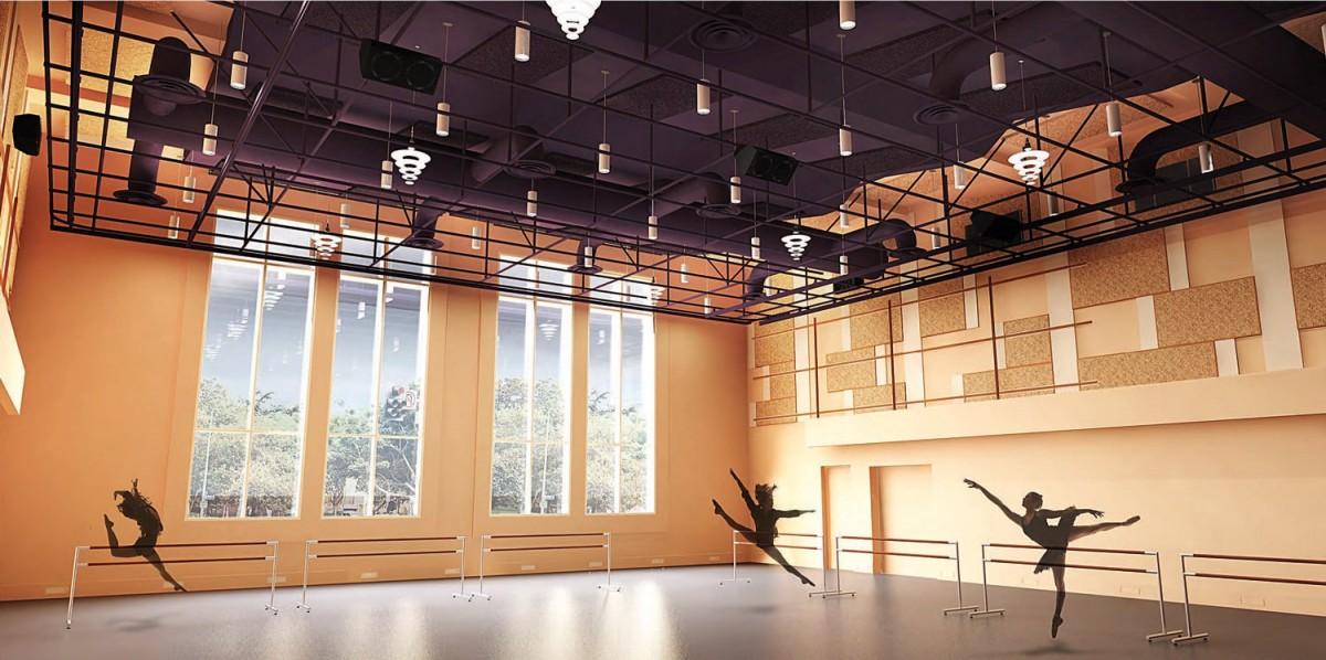 Rendering of the Glorya Kaufman International Dance Center