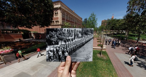 Historical photo of soldiers walking through campus